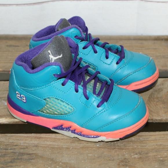 the latest 8f9ae 865b3 Nike Air Jordan V 5 Retro Toddler Teal Pink Purple